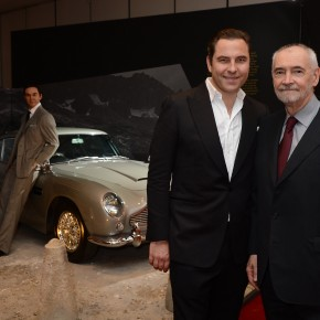 DESIGNING 007_David Walliams and Michael G Wilson by the iconic Bond car